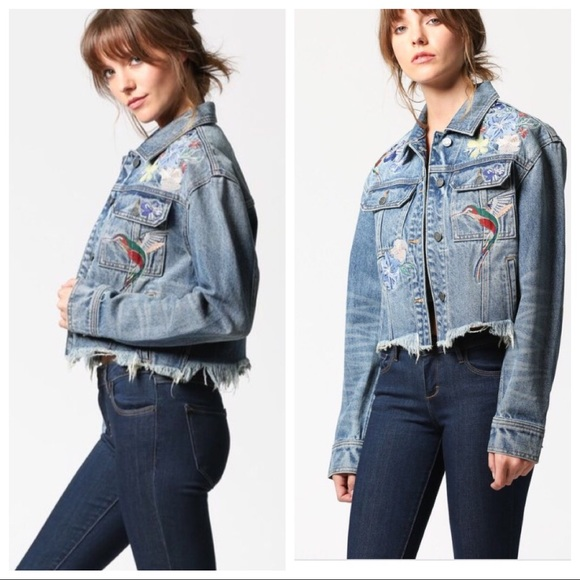 15d190c5 HIDDEN Jeans Jackets & Blazers - Rebel Frayed Hem Denim Jacket With  Embroidery